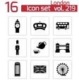 Black london icons set vector