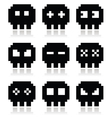 Pixelated 8bit skull icons set vector