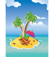Red bikini girl on island2 vector