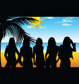 Girl five on beach for background vector