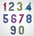 Colored striped numbers with diagonal lines on vector