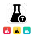 Flask with number icon vector