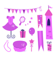 Princess party elements vector