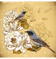 Vintage floral background with birds vector