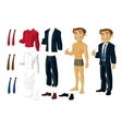 Businessman doll-dress with a set of business vector