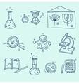 Science icons set school laboratory chemistry vector