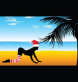 Girl in red hat on the beach with palm tree vector