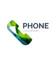 Retro phone logo design made of color pieces vector