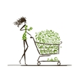Woman shopping with food trolley in supermarket vector