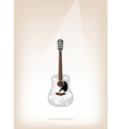 A beautiful white guitar on brown stage background vector