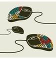 Computer mouse decorated with design print vector