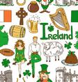 Irish symbols seamless pattern vector