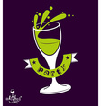 Alcohol theme art festive goblet with class vector