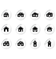 Stickers with house and buildings icons vector