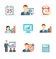 Set of colorful business icons vector