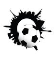 Football ball and building of city vector