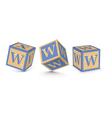 Letter w wooden alphabet blocks vector
