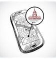 Sketch draw smartphone with map vector