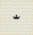 Blue zig zag pattern background vintage with crown vector