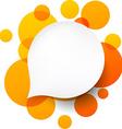 White paper label over orange bubbles vector