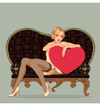 Vintage pin up girl sitting on black leather sofa vector