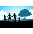 Nature background with family silhouette vector