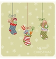 Christmas card with socks and gifts vector