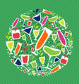 Cocktail drink glass circle vector