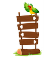A colorful parrot at the top of a wooden signboard vector
