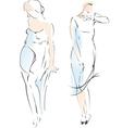 Abstract fashion girl drawing vector