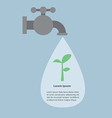Faucet and water drops with small plant infograph vector