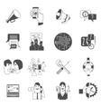 Internet forums concept icons set black vector