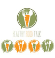 Healthy food talk concept with carrotspoon and vector