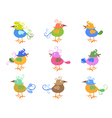 Colorful cartoon birds vector