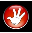 Cartoon stop hand on the red button vector
