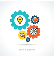 Business start up concept with colorful gear icons vector