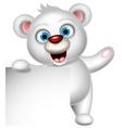 Cute polar bear with blank sign vector