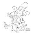 Elf leprechaun smoking pipe vector