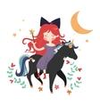 Whimsical girl on black unicorn vector