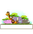 Animal cartoon with blank sign and tropical forest vector