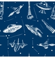 Space aircraft seamless pattern vector