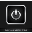 Power icon silver metal vector