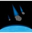 Meteorites fall on planet vector