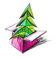 Christmas tree in a present box vector