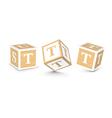 Letter t wooden alphabet blocks vector