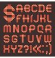 Font from reddish scotch tape - roman alphabet vector