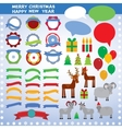 Set of vintage elements new year merry christmas vector