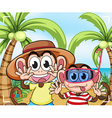 Funny monkeys at the beach vector