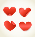 Group of red paper hearts happy valentines day vector
