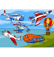 Planes aircraft group cartoon vector